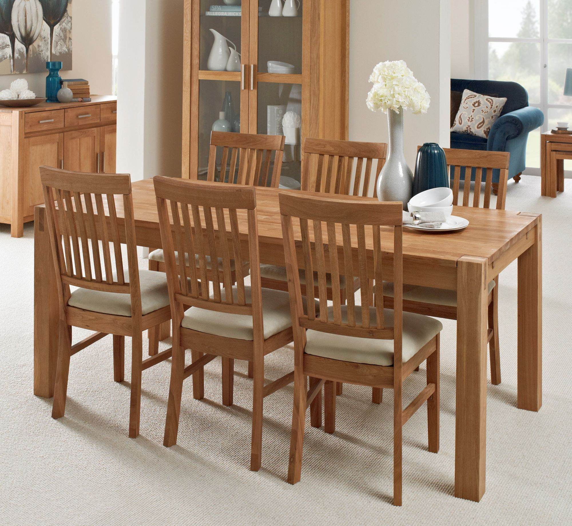 Living homes collection regis oak 180x90cm dining table 6 fabric chairs dining sets living homes