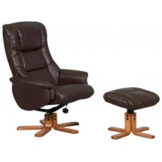 Shanghai Relaxer Chair & Footstool (Nut Brown)