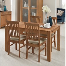 Regis Oak 140x90cm Dining Table & 4 Fabric Chairs