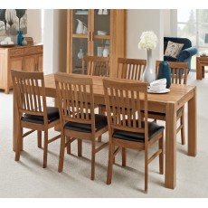 Regis Oak 180x90cm Dining Table & 6 PU Chairs