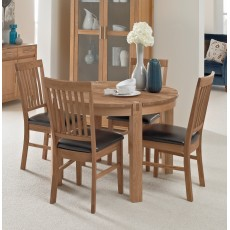 Regis Oak Round Fixed Dining Table & 4 Bicast Chairs
