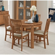 Regis Oak Round Extending Dining Table & 4 Fabric Chairs
