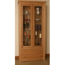 Andrena Elements Wide Glazed Bookcase with Drawers