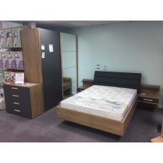 Clearance - Rauch Cathy 181cm Gliding 2 Door  Mirror Robe with Bed & Bedside & 4 Drawer chest