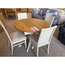 Clearance - Andrena Barley Round Extending Table & 4 Loom Chairs