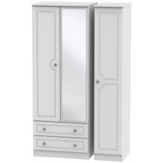 Welcome Bude Tall Triple 2 Drawer Mirror Wardrobe