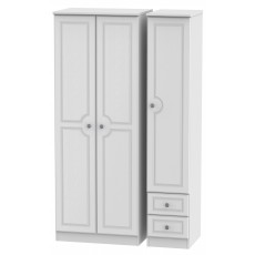 Welcome Bude Tall Triple Plain + Drawer Wardrobe