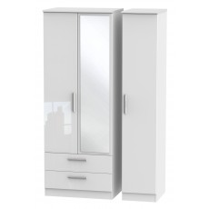 Welcome Infinity Tall Triple 2 Drawer Mirror Robe