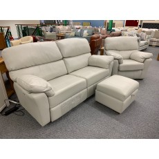 Clearance - Ashwood Hamilton 3 Seater Power Sofa, Chair & Footstool in Leather
