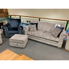 Clearance - Alstons Cambridge 3 Seater Sofa, Chair & Storage Footstool