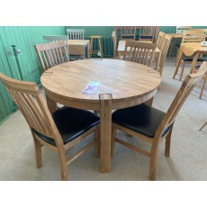 Clearance - Regis Oak Round Fixed Table & 4 Bicast Chairs