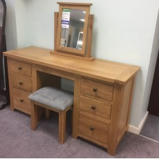 Clearance - Columbia Oak Dressing Table, Mirror & Stool