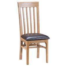 Newport Dining Slat-Back Chair - PU Seat (Pair)