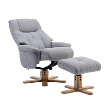 Dubai Relaxer Chair & Footstool (Silver/Mid Oak)