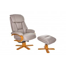 Nice Relaxer Chair & Footstool (Pebble/Cherry)