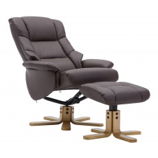 Florence Relaxer Chair & Footstool (Brown/Tan)