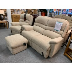 Clearance - Sherborne Olivia 2 Seater Fixed Sofa, Manual Recliner & Storage Footstool