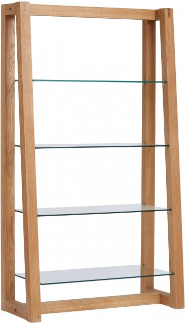 Regis Oak Framed Glass Shelf Unit