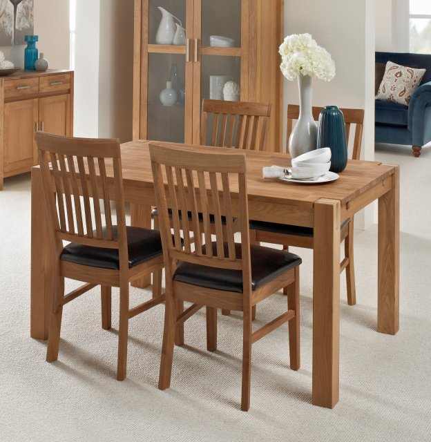 Regis Oak 140x90cm Dining Table & 4 PU Chairs