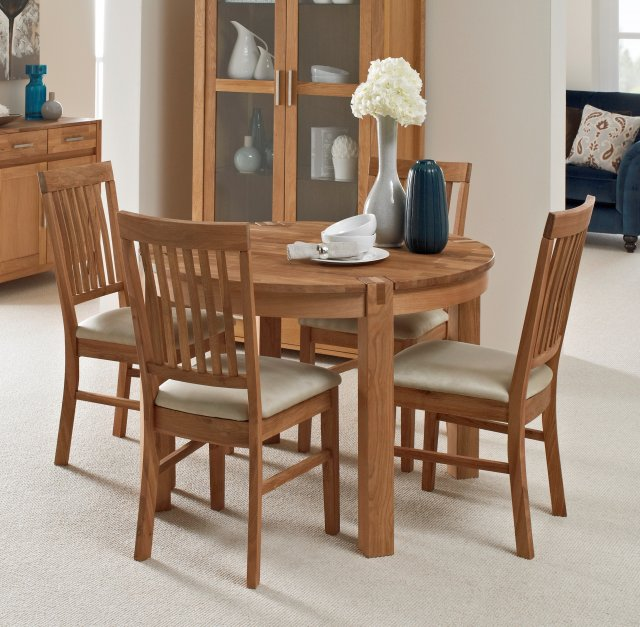 Living Homes Collection Regis Oak Round Extending Dining Table 4