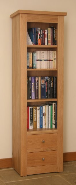 Andrena Elements Narrow Open Bookcase with Drawers