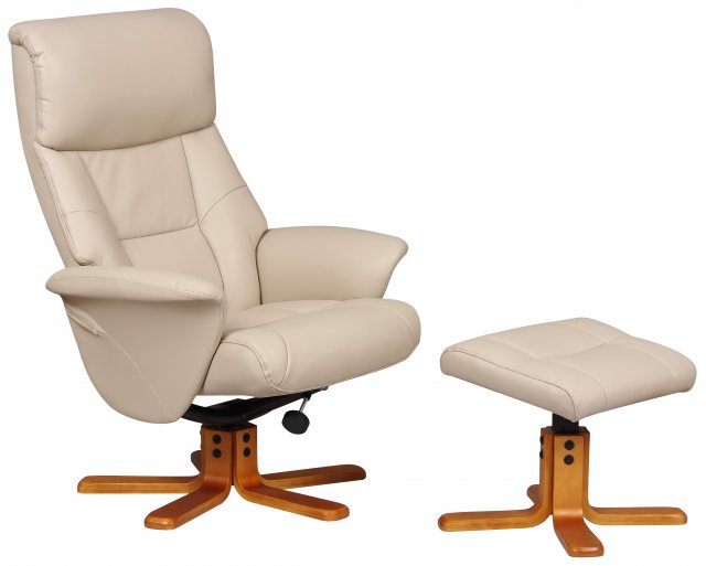 Marseille Relaxer Chair & Footstool (Latte/Cherry)
