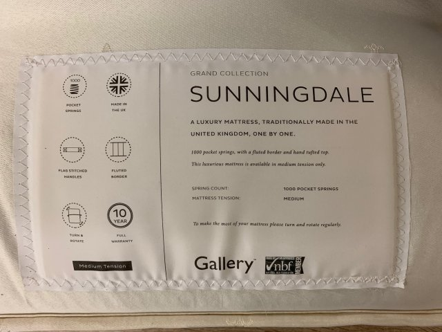 "Clearance - Gallery Sunningdale 5'0"" (150cm) Kingsize Mattress Only"
